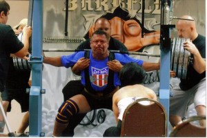 Buddy McKee squatting 810 Lbs. at age 53 at the APF Louisiana Open in Sept. 09 [pic taken by Teresa Frank]